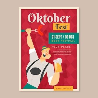 Plakat oktoberfest z człowiekiem i piwem