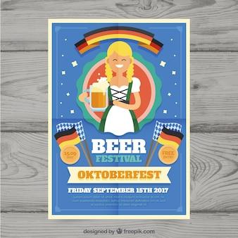 Plakat oktoberfest zabawy z płaską kobietą i flagą