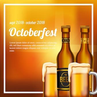 Plakat oktoberfest ze szklanką piwa i butelki