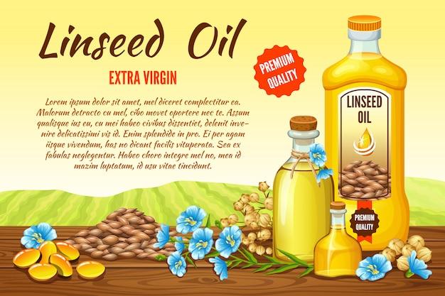 Plakat olej lniany, nasiona i kwiaty.