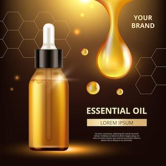 Plakat olejków kosmetycznych. złote przezroczyste krople oleju wyciągu dla kobiety krem lub płynny kosmetyk q10 szablon wektor kolagenu