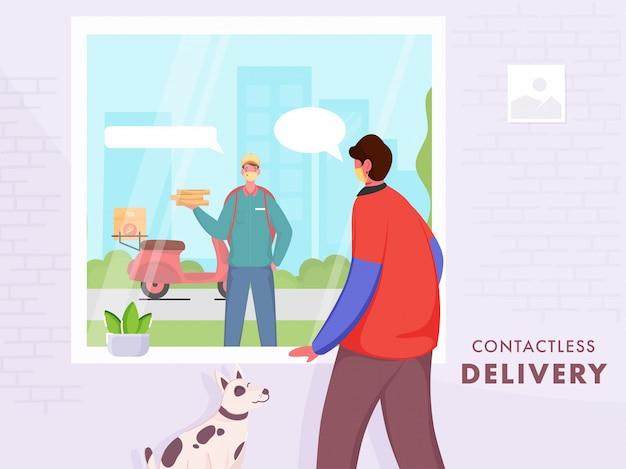Plakat oparty na koncepcji dostawy zbliżeniowej, klient rozmawia z chłopcem dostarczającym pizzę z okna, aby uniknąć koronawirusa.