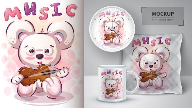 Plakat opatrzony muzyką i merchandising