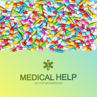 Plakat opieki medycznej z napisem i kolorowymi lekami na jasnozielonym kolorze