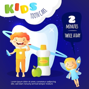 Plakat opieki stomatologicznej dla dzieci