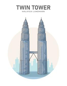 Plakat orientacyjny z podwójną wieżą w malezji