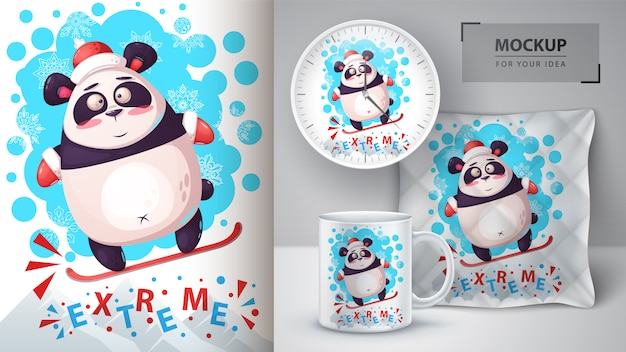 Plakat panda snowboardowa i merchandising