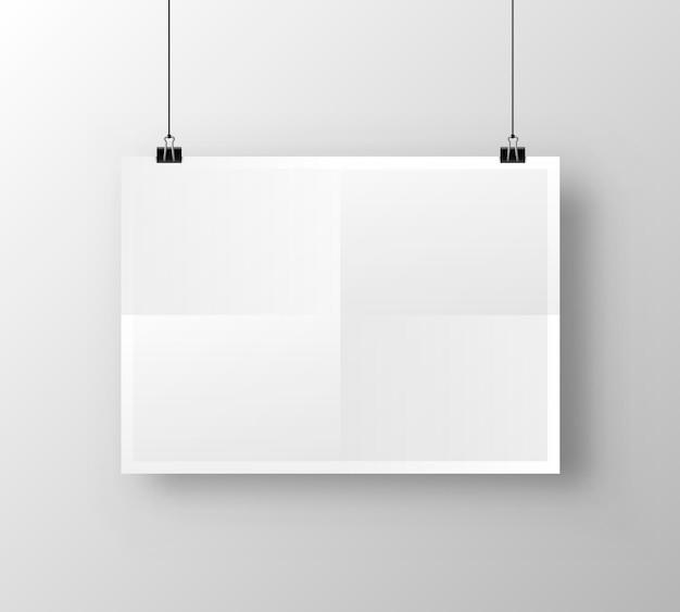 Plakat papierowy a4 na białym tle. ilustracja wektorowa