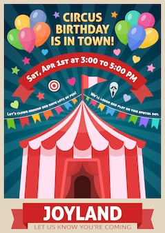 Plakat parku rozrywki z girlandą z namiotu cyrkowego z czerwonymi wstążkami na niebieskich promieniach
