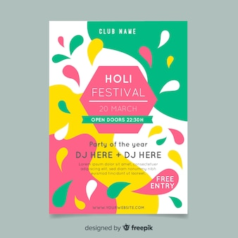 Plakat party festiwalu hexagon holi