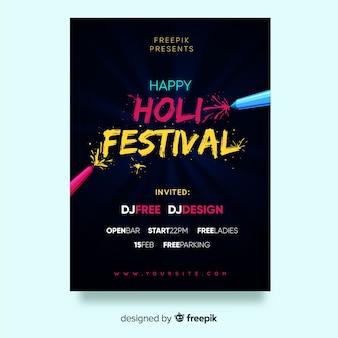 Plakat party festiwalu holi