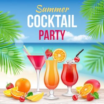 Plakat party koktajlowe. zaproszenie do picia alkoholu letnia impreza martini whisky margarita realistyczne afisz