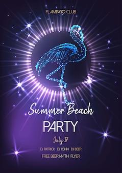Plakat party lato plaża z świecące low poly flamingo.