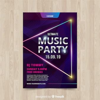 Plakat party muzyka kształtów geometrycznych