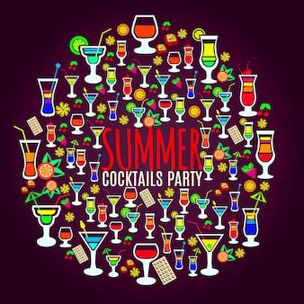 Plakat party tropikalne koktajle wakacje