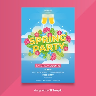 Plakat party wiosna niebo