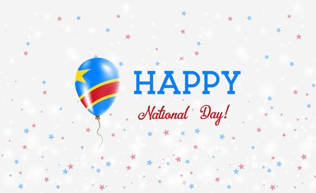 Plakat patriotyczny dr konga. latający balon gumowy w kolorach flagi konga. dr kongo święto narodowe tło z balonem, konfetti, gwiazdy, bokeh i błyszczy.