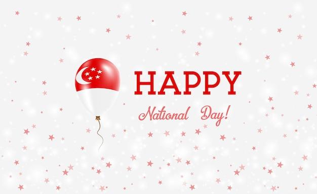 Plakat patriotyczny dzień narodowy singapuru. latający balon gumowy w kolorach flagi singapuru. singapur święto narodowe tło z balonem, konfetti, gwiazdy, bokeh i błyszczy.