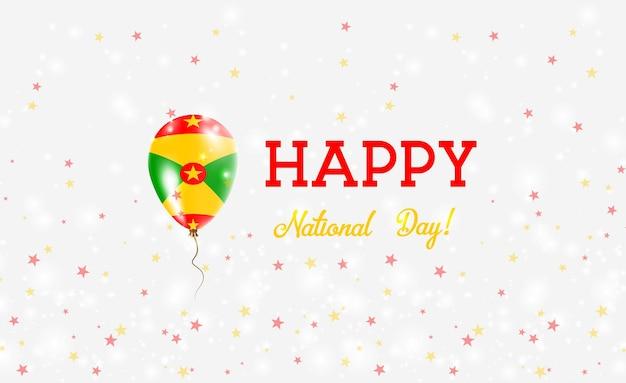 Plakat patriotyczny grenady national day. latający balon gumowy w kolorach flagi grenady. grenada święto narodowe tło z balonem, konfetti, gwiazdy, bokeh i błyszczy.