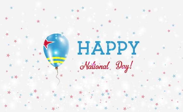Plakat patriotyczny święto narodowe aruby. latający balon gumowy w barwach flagi aruby. aruba święto narodowe tło z balonem, konfetti, gwiazdy, bokeh i błyszczy.