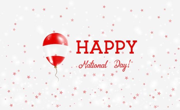 Plakat patriotyczny święto narodowe austrii. latający balon gumowy w barwach austriackiej flagi. austria święto narodowe tło z balonem, konfetti, gwiazdy, bokeh i błyszczy.