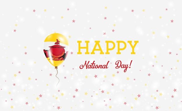 Plakat patriotyczny święto narodowe brunei. latający balon gumowy w kolorach flagi brunei. brunei national day tło z balonem, konfetti, gwiazdy, bokeh i błyszczy.