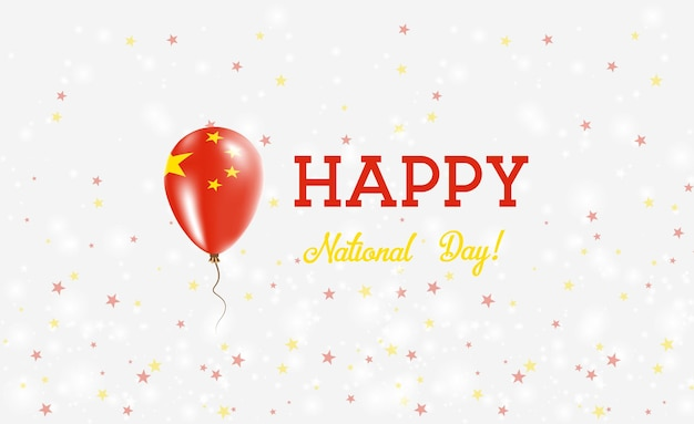 Plakat patriotyczny święto narodowe chin. latający balon gumowy w kolorach flagi chińskiej. tło święto narodowe chin z balonem, konfetti, gwiazdy, bokeh i błyszczy.