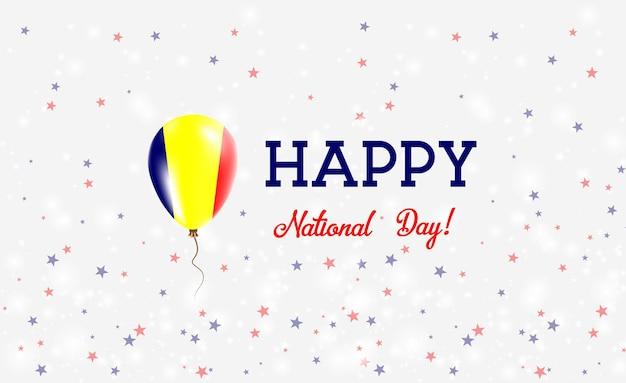 Plakat patriotyczny święto narodowe czadu. latający balon gumowy w kolorach flagi czadu. święto narodowe czadu tło z balonem, konfetti, gwiazdy, bokeh i błyszczy.