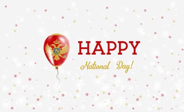 Plakat patriotyczny święto narodowe czarnogóry. latający balon gumowy w kolorach flagi czarnogóry. czarnogóra święto narodowe tło z balonem, konfetti, gwiazdy, bokeh i błyszczy.