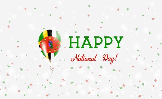 Plakat patriotyczny święto narodowe dominika. latający balon gumowy w kolorach flagi dominikany. dominika tło święto narodowe z balonem, konfetti, gwiazdy, bokeh i błyszczy.