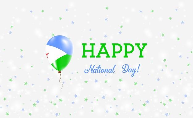 Plakat patriotyczny święto narodowe dżibuti. latający balon gumowy w kolorach flagi dżibuti. święto narodowe dżibuti tło z balonem, konfetti, gwiazdy, bokeh i błyszczy.