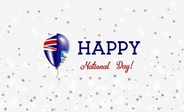 Plakat patriotyczny święto narodowe falklandów. latający balon gumowy w barwach flagi falklandów. falklandy święto narodowe tło z balonem, konfetti, gwiazdy, bokeh i błyszczy.