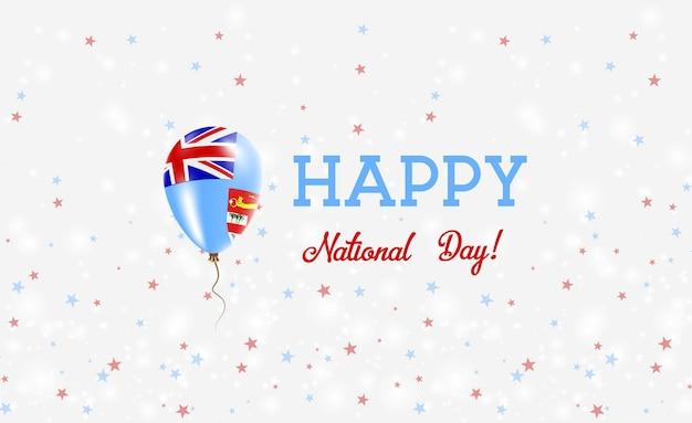 Plakat patriotyczny święto narodowe fidżi. latający balon gumowy w kolorach flagi fidżi. fidżi święto narodowe tło z balonem, konfetti, gwiazdy, bokeh i błyszczy.