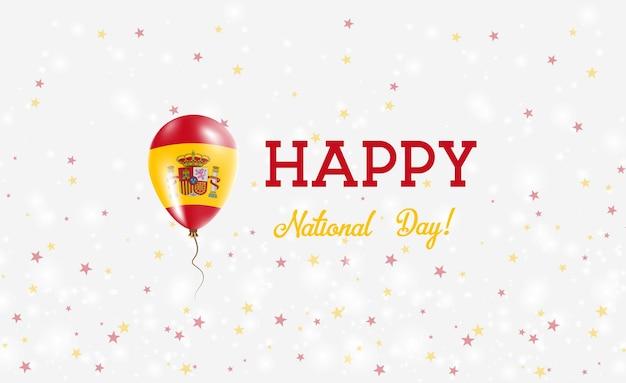 Plakat patriotyczny święto narodowe hiszpanii. latający balon gumowy w kolorach flagi hiszpanii. hiszpania święto narodowe tło z balonem, konfetti, gwiazdy, bokeh i błyszczy.