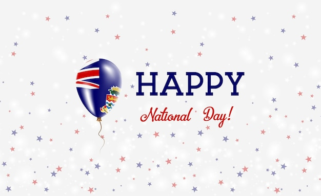 Plakat patriotyczny święto narodowe kajmanów. latający balon gumowy w kolorach flagi kajmanu. tło święto narodowe kajmanów z balonem, konfetti, gwiazdy, bokeh i błyszczy.