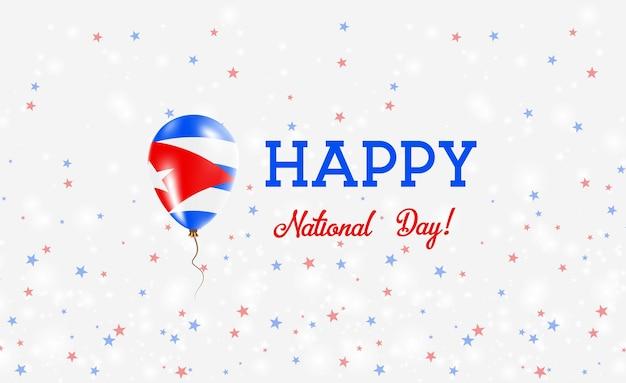 Plakat patriotyczny święto narodowe kuby. latający balon gumowy w kolorach flagi kubańskiej. kuba święto narodowe tło z balonem, konfetti, gwiazdy, bokeh i błyszczy.