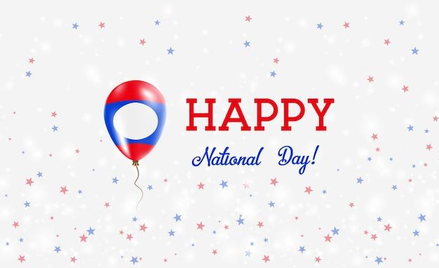 Plakat patriotyczny święto narodowe laosu. latający balon gumowy w kolorach flagi laosu. święto narodowe laosu tło z balonem, konfetti, gwiazdy, bokeh i błyszczy.