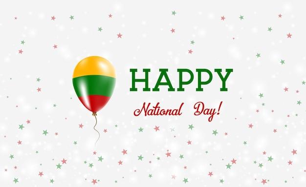 Plakat patriotyczny święto narodowe litwy. latający balon gumowy w barwach litewskiej flagi. litwa święto narodowe tło z balonem, konfetti, gwiazdy, bokeh i błyszczy.