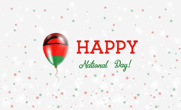 Plakat patriotyczny święto narodowe malawi. latający balon gumowy w barwach flagi malawi. święto narodowe malawi tło z balonem, konfetti, gwiazdy, bokeh i błyszczy.