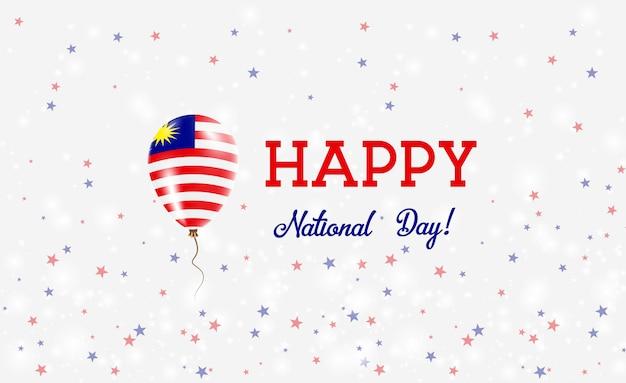 Plakat patriotyczny święto narodowe malezji. latający balon gumowy w kolorach flagi malezji. malezja święto narodowe tło z balonem, konfetti, gwiazdy, bokeh i błyszczy.