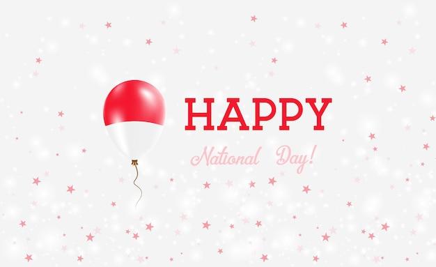 Plakat patriotyczny święto narodowe monako. latający balon gumowy w barwach flagi monako. monako święto narodowe tło z balonem, konfetti, gwiazdy, bokeh i błyszczy.