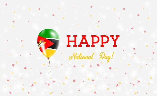 Plakat patriotyczny święto narodowe mozambiku. latający balon gumowy w barwach flagi mozambiku. mozambik święto narodowe tło z balonem, konfetti, gwiazdy, bokeh i błyszczy.
