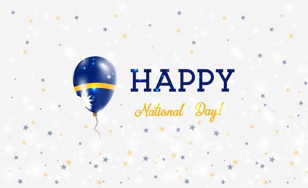 Plakat patriotyczny święto narodowe nauru. latający balon gumowy w kolorach flagi nauruan. nauru święto narodowe tło z balonem, konfetti, gwiazdy, bokeh i błyszczy.