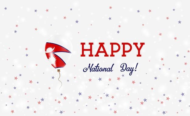 Plakat patriotyczny święto narodowe nepalu. latający balon gumowy w kolorach flagi nepalu. nepal święto narodowe tło z balonem, konfetti, gwiazdy, bokeh i błyszczy.