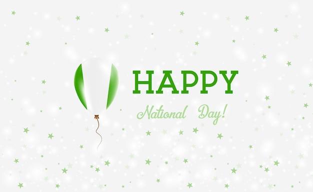 Plakat patriotyczny święto narodowe nigerii. latający balon gumowy w kolorach flagi nigerii. tło święto narodowe nigerii z balonem, konfetti, gwiazdy, bokeh i błyszczy.