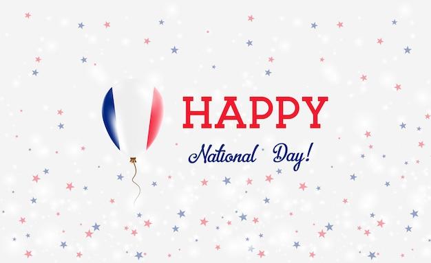 Plakat patriotyczny święto narodowe nowej kaledonii. latający balon gumowy w kolorach flagi nowej kaledonii. tło święta narodowego nowej kaledonii z balonem, konfetti, gwiazdy, bokeh i błyszczy.
