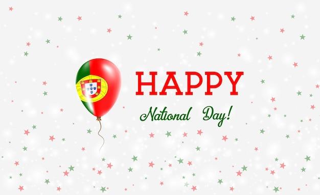 Plakat patriotyczny święto narodowe portugalii. latający balon gumowy w barwach portugalskiej flagi. tło święto narodowe portugalii z balonem, konfetti, gwiazdy, bokeh i błyszczy.