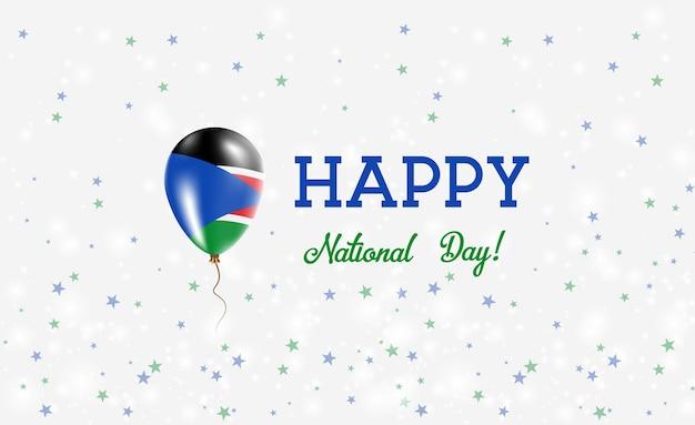 Plakat patriotyczny święto narodowe sudanu południowego. latający balon gumowy w kolorach flagi sudanu południowego. dzień narodowy sudanu południowego tło z balonem, konfetti, gwiazdy, bokeh i błyszczy.