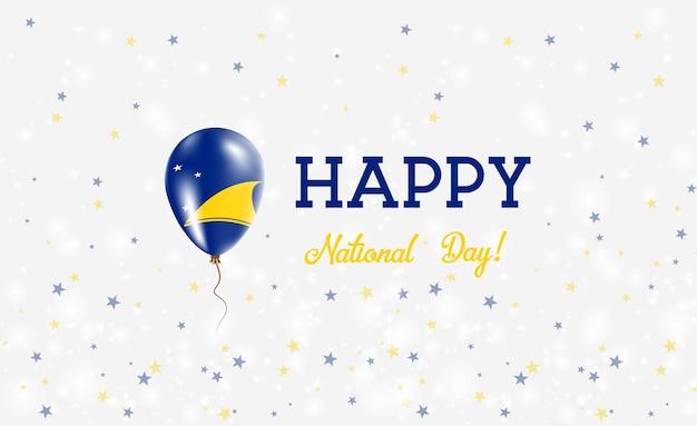 Plakat patriotyczny święto narodowe tokelau. latający balon gumowy w kolorach flagi tokelauan. tokelau święto narodowe tło z balonem, konfetti, gwiazdy, bokeh i błyszczy.
