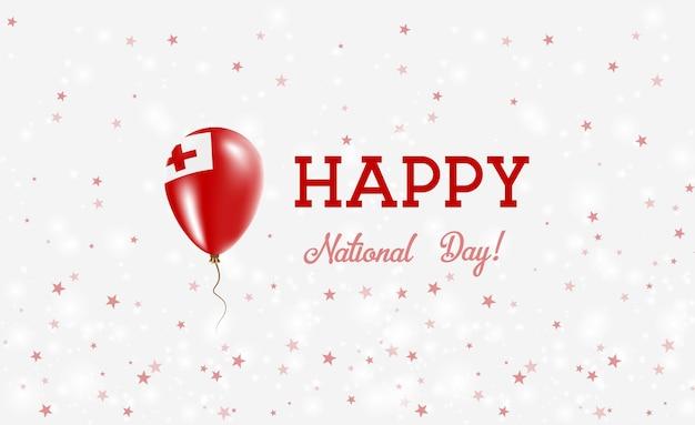 Plakat patriotyczny święto narodowe tonga. latający balon gumowy w kolorach flagi tonga. tonga święto narodowe tło z balonem, konfetti, gwiazdy, bokeh i błyszczy.